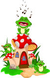 Cartoon 3 frogs singing on a mushroom. Illustration of cartoon 3 frogs singing on a mushroom Royalty Free Stock Images