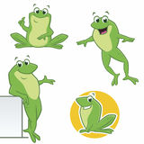 Cartoon Frogs. Vector illustration of  cartoon green frogs in various poses Stock Photos