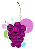 Cartoon fruit. An illustration of grape with smiling face Stock Photos