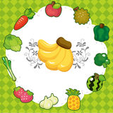 Cartoon fruit card Stock Image
