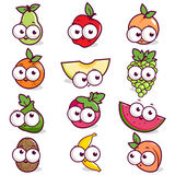 Cartoon fruit character set Stock Photography