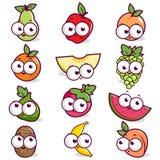 Cartoon fruit character set. Vector illustration of a set of cartoon fruit character set Stock Photography