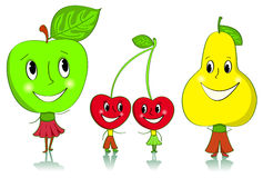 Cartoon fruit characters. Apple, cherries and a pear. Isolated on white Stock Image