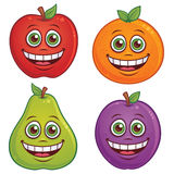 Cartoon Fruit Characters. Vector cartoon illustration of fruit with smiling faces. Apple, orange, pear and plum characters included royalty free illustration