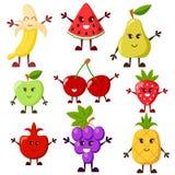 Cartoon fruit characters. Grape, watermelon, apple, strawberry, banana, cherry, pear, pineapple, garnet Royalty Free Stock Photos