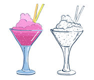 Cartoon fruit cocktail. Royalty Free Stock Photos