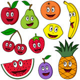 Cartoon Fruit Collection. Collection of ten funny cartoon fruits (apple, pear, orange, banana, cherries, strawberry, lemon, watermelon, plum and pineapple) Stock Images