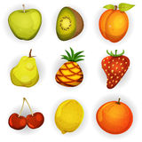 Cartoon Fruit Icons Set Royalty Free Stock Photos