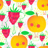 Cartoon fruit pattern. Cute and funky fruit pattern. Nectarine and raspberry seamless background Stock Photos