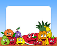 Cartoon Fruit Photo Frame [1]. Photo frame, post card or page for your scrapbook. Subject: a composition with ten funny cartoon fruits (apple, pear, orange Royalty Free Stock Image