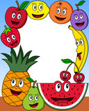 Cartoon Fruit Photo Frame [2]. Photo frame, post card or page for your scrapbook. Subject: a composition with ten funny cartoon fruits (apple, pear, orange stock illustration