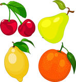 Cartoon fruit set. Include cherry, pear, lemon and orange Stock Photography
