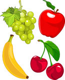 Cartoon fruit set. Include banana, grape, apple and cherry Royalty Free Stock Images