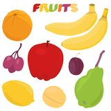 Cartoon fruit set Royalty Free Stock Photo