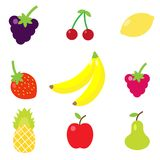 Cartoon Fruit Set. The Vector illustration. 9 objects of fruit set Royalty Free Stock Photos