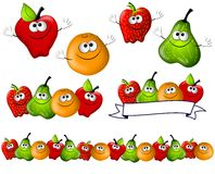 Cartoon Fruit Smiling Characters vector illustration