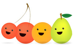 Cartoon fruits. An illustration featuring an cherry, orange and pear with smiling faces lined up in a row Stock Image
