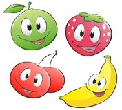 Cartoon Fruits. Isolated objects for design element Stock Image