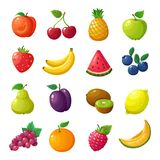 Cartoon fruits and berries. Melon pear mandarin watermelon apple orange isolated vector set. Peach and cherry, pineapple and apple, watermelon and banana vector illustration