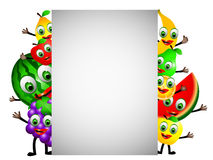 Cartoon fruits with blank sign Royalty Free Stock Images