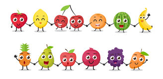 Cartoon fruits characters Stock Image