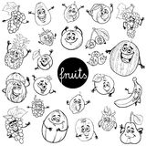 Cartoon fruits characters set color book Royalty Free Stock Photo