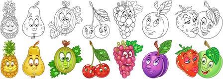 Cartoon Fruits set royalty free stock photos