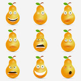 Cartoon fruits collection icons with face. Expression, pear set, eating healthy concept, vector illustration Stock Photos