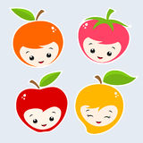 Cartoon Fruits. Cute Cartoon Fruit Faces. Grouped and layered for easy editing Royalty Free Stock Photo