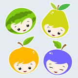 Cartoon Fruits. Cute Cartoon Fruit Faces. Grouped and layered for easy editing Stock Image