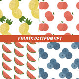 Cartoon fruits seamless pattern. In flat style Royalty Free Stock Photos
