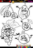 Cartoon fruits set for coloring book Royalty Free Stock Image