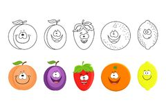 Cartoon fruits set. Coloring book pages for kids. Peach, plum, s vector illustration