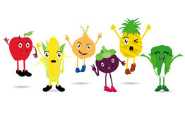 Cartoon Fruits set of funny cartoon fruits Stock Photography