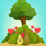 Cartoon fruits. Two character pears with pink heart in summer garden Stock Photos