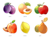 Cartoon fruits vector icons set Royalty Free Stock Image