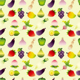 Cartoon Fruits and Vegetable seamless pattern Royalty Free Stock Photos