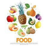 Cartoon Fruits And Vegetables Concept Royalty Free Stock Photo