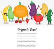 Cartoon fruits and vegetables. Eco food background. Template with space for text. Vector Royalty Free Stock Photography