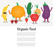 Cartoon fruits and vegetables. Eco food background. Template with space for text. Vector Stock Photos