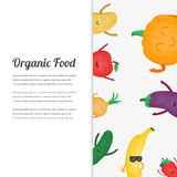 Cartoon fruits and vegetables. Eco food background. Template with space for text. Vector Royalty Free Stock Images