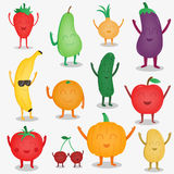 Cartoon fruits and vegetables. Funny food concept. Organic food. Vector Royalty Free Stock Images