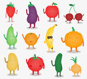 Cartoon fruits and vegetables. Funny food concept. Organic food. Vector Royalty Free Stock Photo