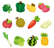 Cartoon Fruits and Vegetables icon set Stock Photo