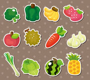 Cartoon Fruits and Vegetables icon set Stock Images