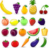 Cartoon fruits and vegetables,vector Royalty Free Stock Photography