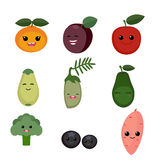 Cartoon fruits and vegetables Stock Images