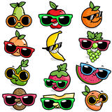 Cartoon fruits wearing sunglasses Stock Photography