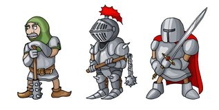Cartoon colored three medieval knights prepering for Knight Tournament royalty free illustration