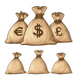Cartoon full sacks with money. Eps10  illustration. Isolated on white background Royalty Free Stock Image